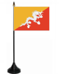 Bhutan Desk / Table Flag with plastic stand and base.